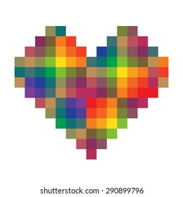 Heart made of rainbow colored pixels on the white background