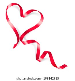 Heart made of red ribbon on white background.