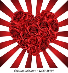 Heart made of red roses in photorealistic detailed style, clean vector for valentines day or romantic event, for wedding invitation card or banner, on red and white beam lines background