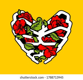 Heart made of ribs and flowers. Love of bones and roses. Heart Shaped Rib Cage Rose. Tattoo symbol