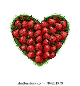 The heart is made up of strawberries.