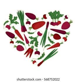 Heart made of vegetables - vector illustration