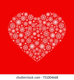 Heart made of white snowflakes on red background. Flat vector icon. Can be used for Christmas, New Year greetings and St. Valentine's Day; decoration element for postcards, invitations, wallpapers