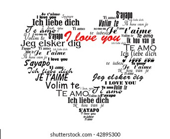 """Heart made up of the words """"I Love You"""" in different languages valentine vector illustration"""