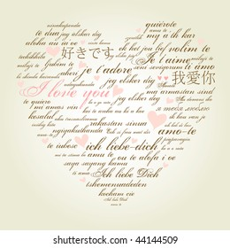 """A heart made of words """"I love you"""" in many languages"""