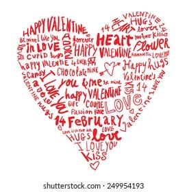 heart made of words Love, vector illustration.