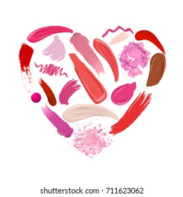Heart of Makeup set: strokes and smears, lipstick, lip liner, foundation, drops nail polish, loose powder. Cosmetics. Beauty and Fashion Illustration. Vector Illustration.