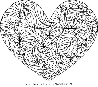 Heart Mandala, adult coloring page, template, vector