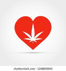 Heart with marijuana leaf vector
