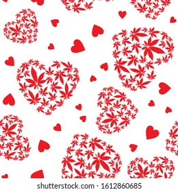 Heart with marijuana leaves seamless vector pattern.Valentine's day background