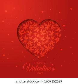 Heart with marijuana leaves vector illustration.Happy Valentine's day