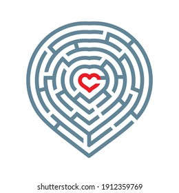 Heart maze. Heart shaped labyrinth. Love, friendship and relations concept vector illustration. Part of set.