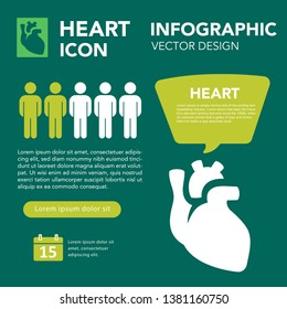 Heart Medical Infographic Set. Human Cardiovascular Organ, Blood Cells Flow. Vector Illustration Statistics, Scientific Data, Norm and Standards, Man Silhouette. Clinic, Education Banner Presentation