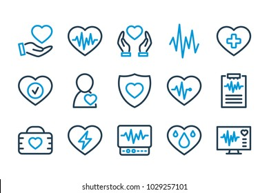 Heart medical line icons. Cardio icon set. Vector illustration.