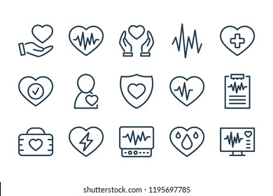 Heart medical line icons. Vector linear icon set.