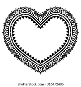 Heart Mehndi design, Indian Henna tattoo pattern