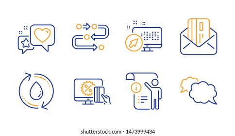 Heart, Methodology and Online shopping line icons set. Web system, Refill water and Credit card signs. Manual doc, Messenger symbols. Star rating, Development process. Technology set. Vector