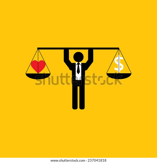 heart and money icon : businessman carry balance life and work : business concept on yellow background