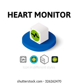 Heart monitor icon, vector symbol in flat, outline and isometric style