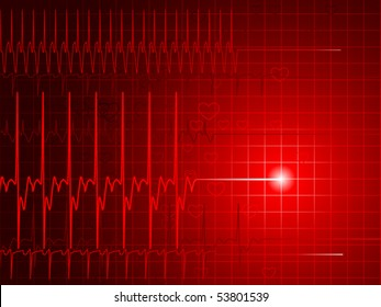 Heart monitor in red showing a heart attack and death
