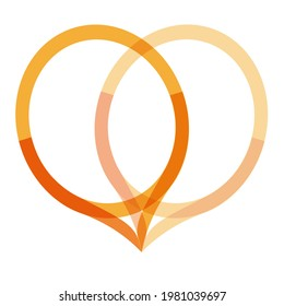 Heart Monogram O V Logo Vector