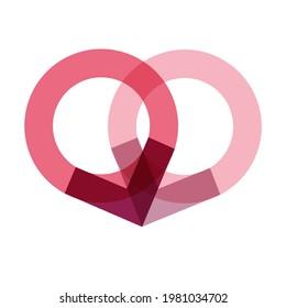 Heart Monogram O V Vector Logo
