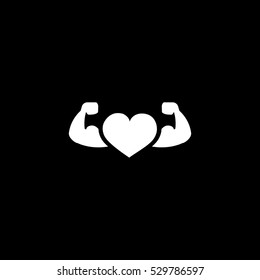 heart with muscle arms icon, isolated, white background