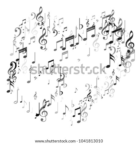 Heart Music Note Signs Symbols Classic Stock Vector Royalty Free