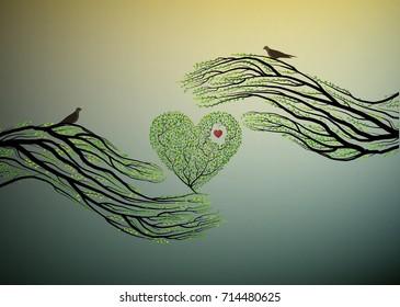 heart of nature, treelike hand hold green heart, protect the tree idea, vector