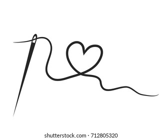 heart with a needle thread. vector illustration