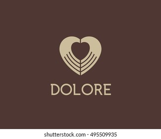 Heart negative space hands vector logotype. Charity medical sign symbol. Spa beauty salon massage logo icon design.