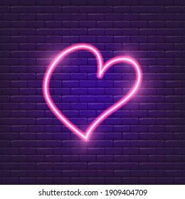Heart neon icon. Valentine's day concept. Symbol  love. Vector illustration for design.
