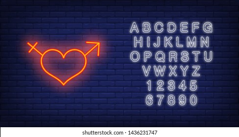 Heart neon sign. Luminous signboard with male and female symbols. Night bright advertisement. Vector illustration in neon style for sex shop