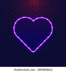 The heart of the neon tube. Individual sparkling light bulbs. Bright light on the night brick wall. Window and frame for your retro fashion design. Vector decor for a romantic holiday.