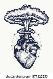 Heart and nuclear explosion tattoo art. Symbol of love, feelings, energy t-shirt design surreal graphic