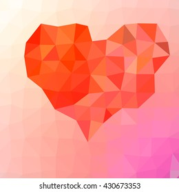 Heart on an abstract background of triangles