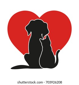 heart on the background of a cat and a dog