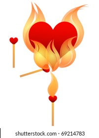 Heart on Fire. Eps 10. Fully editable and sizable.