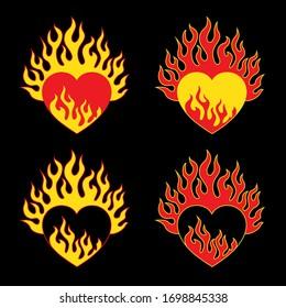 Heart on fire. Vector burning heart, hot set