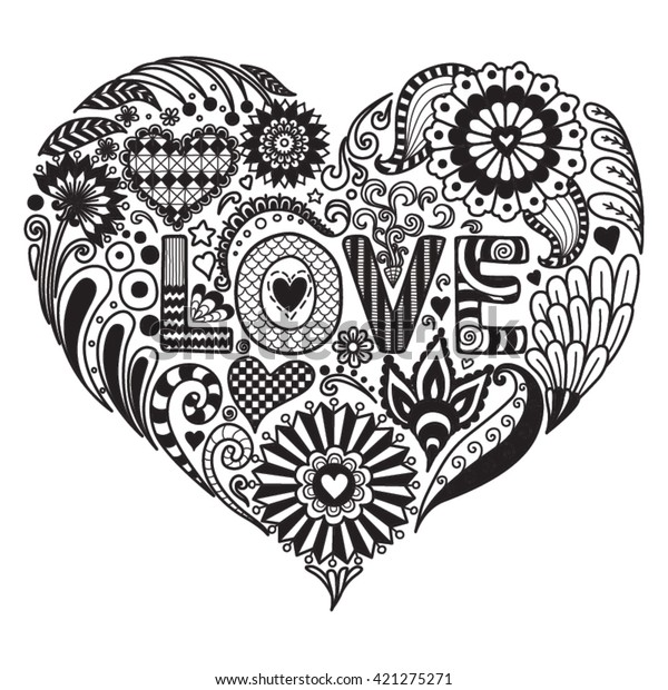 Heart On Flowers Coloring Books Adult Stock Vector (Royalty ...