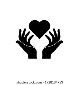 Heart on hands icon simple love sign vector illustration