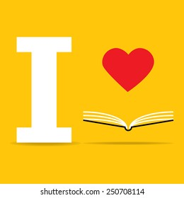 heart on open book on yellow background : I love book vector