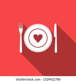 Heart on plate, fork and knife icon isolated with long shadow. Happy Valentine's day. Flat design. Vector Illustration