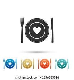 Heart on plate, fork and knife icon isolated on white background. Happy Valentine's day. Set elements in color icons. Vector Illustration