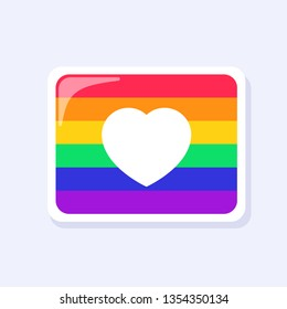Heart on Pride Flag Icon. LGBTQ+ related symbol in rainbow colors. Gay Pride. Raibow Community Pride Month. Love, Freedom, Support, Peace Symbol. Flat Vector Design Isolated on White Background
