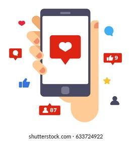 Heart on smartphone screen. Hand hold smartphone. Creative flat design vector illustration