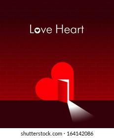 Heart with an open door in it. Creative illustration