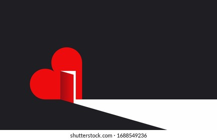 Heart with open door and the light inside. Concept of love, help and mercy