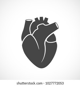 Heart organ vector symbol illustration isolated on white background