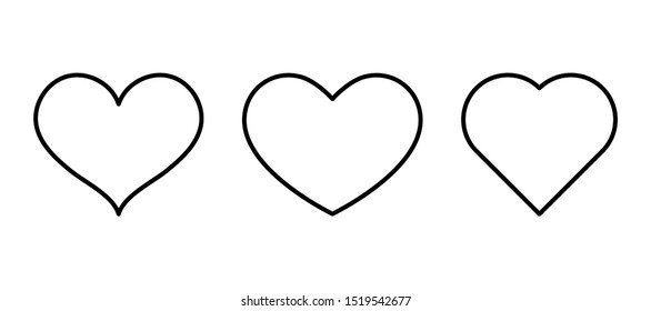Heart outline black icon on a white background. Symbol of love. Icon for your site or advertising. Vector illustration.